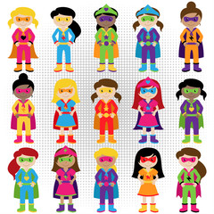 Collection of Diverse Group of Superhero Girls, matching boy sup