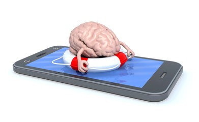 brain that swims on the screen of the smartphone