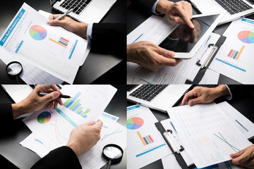 Businessman hand working marketing accounting .montage style
