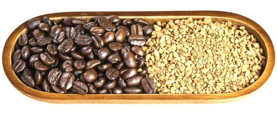 Coffee bean and granules coffee isolated