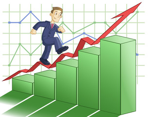 Businessman is climbing up the business graph