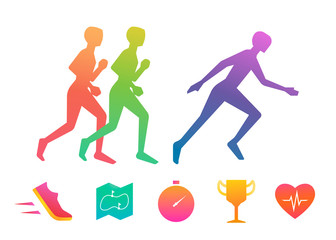 Running Colorful Icon Set