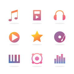 Music Colorful Icon Set
