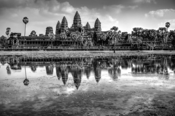 Angkor Wat Temple, Siem reap, Cambodia in Black and White