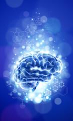 brain - blue technology concept