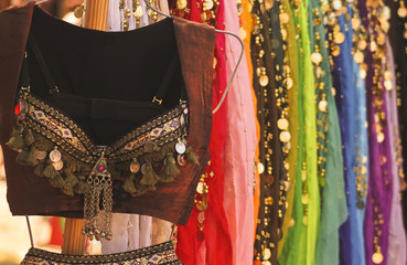 A Belly Dancing Costume and Colorful Skirts