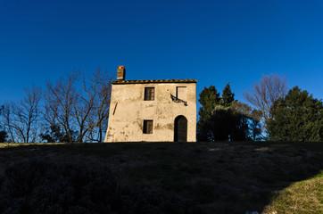 Tuscan house at sunset