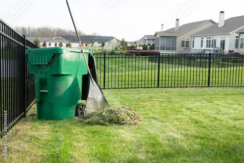 Raking lawn clippings on a suburban estate - 81944464