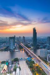 Bird eyes view of Chao Phraya River Landscape
