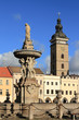 Leinwanddruck Bild - Public fountain in square. Ceske Budejovice, Czech Republic
