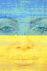 Young pretty woman face with tear on Ukranian flag background.