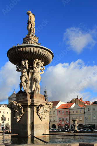 Leinwanddruck Bild Fountain in Ceske Budejovice, Czech republic