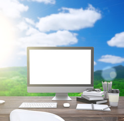 3D illustration PC screen on table, Workspace on nature