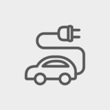 Electric car thin line icon