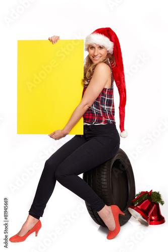 canvas print picture Weihnachtsgruesse fuer den Reifenhandel