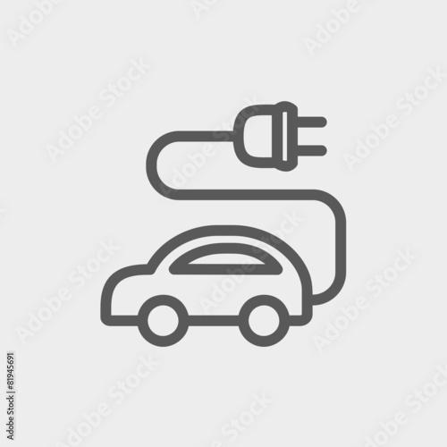 Electric car thin line icon - 81945691