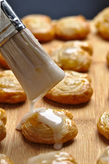 Palmier pastry iced with delicious cream