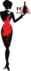 Silhouette of waiter woman