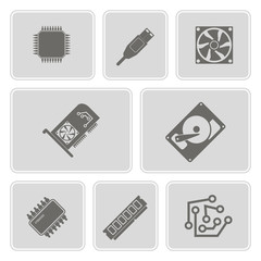 set of monochrome icons with computer hardware and components