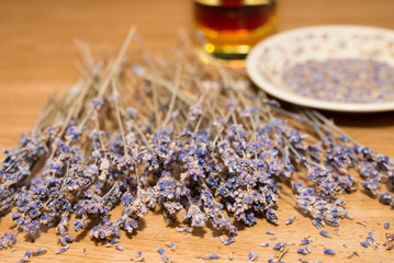 lavender bunch with seeds and oil