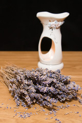lavender bunch with aroma lamp