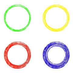Set of abstract circles on white background,  Blue, yellow, red