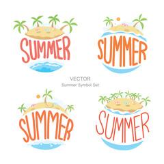 Island summer symbols set, Vector