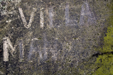 Stone background with ancient letters and moss