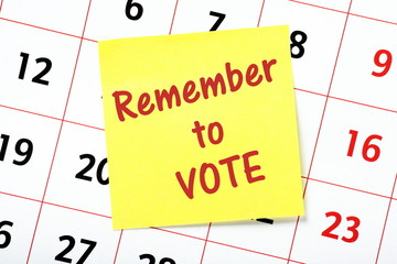 Remember to vote reminder note on a calendar