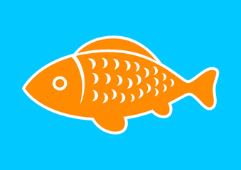 Fish vector icon on blue background