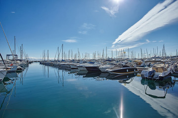 Yachts parking in French Riviera