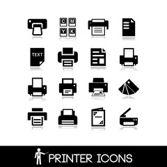 Printer icons set 3 - vector illustration