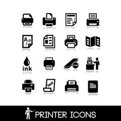 Printer icons set 8
