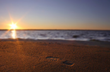 Footprints in the sand, background