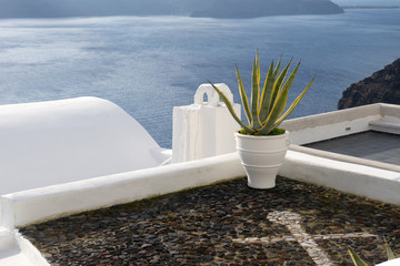 The roofs of the Santorini's houses
