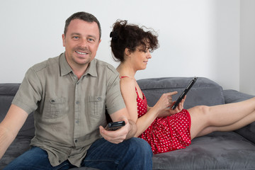 happy loving man and woman sitting