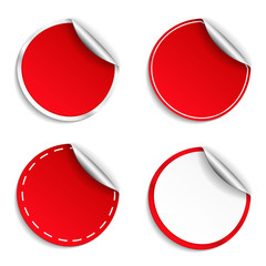 Red Round Stickers