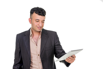 Businessman with a palmtop computer.