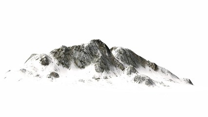 Snowy Mountains - separated on white background