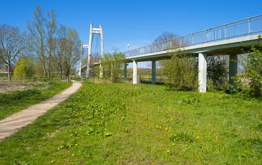 Footpath along a bridge in spring