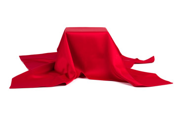 Subject covered with red cloth