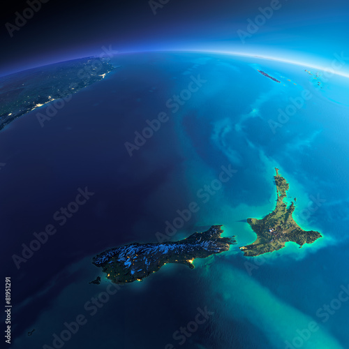 Leinwanddruck Bild Detailed Earth. New Zealand