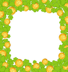 Border with clovers and golden coins for St. Patrick's Day