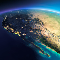 .Detailed Earth. Gulf of California, Mexico and the western U.S.