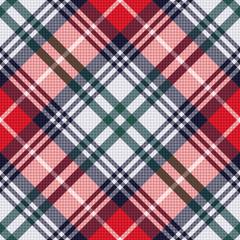 Diagonal tartan seamless texture in red and light grey hues