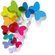 colorful butterflies transparent stained glass