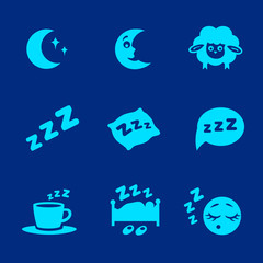 Vector isolated white sleep concept icons set pillow, bed, moon