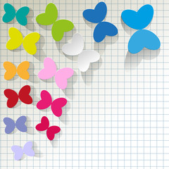 colorful butterflies on checkered pattern background