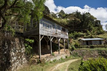 abandoned dwelling built on beams in Honduras