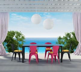 Aegean luxury hotel summer dining outdoors